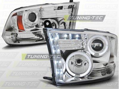 Фары передние LED Angel Eyes Chrome для Dodge Ram IV