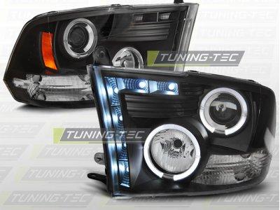 Фары передние LED Angel Eyes Black для Dodge Ram IV