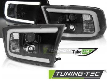 Передние фары Tube Light с ходовыми огнями чёрные для Dodge Ram IV