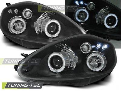 Фары передние Angel Eyes Black от Tuning-Tec для Fiat Grande Punto