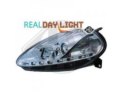 Фары передние Daylight Chrome для Fiat Grande Punto рестайл