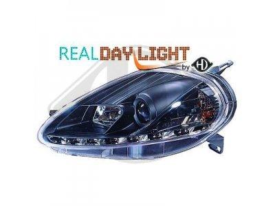 Фары передние Daylight Black для Fiat Grande Punto рестайл
