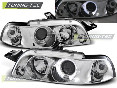 Фары передние LED Angel Eyes Chrome от Tuning-Tec для Fiat Punto I