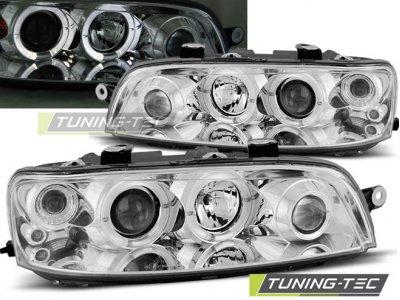 Передняя альтернативная оптика LED Angel Eyes Chrome от Tuning-Tec для Fiat Punto II