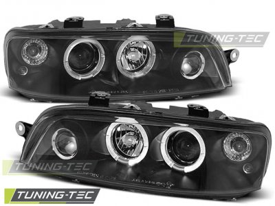 Передняя альтернативная оптика LED Angel Eyes Black от Tuning-Tec для Fiat Punto II