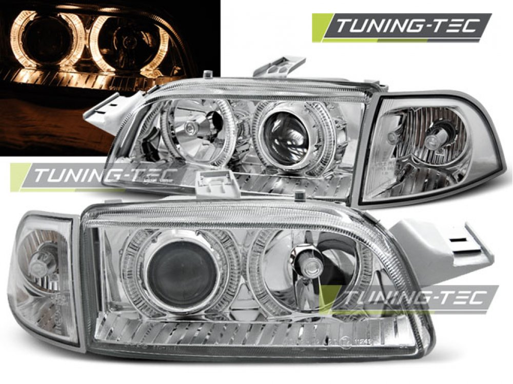 Фары передние Angel Eyes Chrome от Tuning-Tec для Fiat Punto I