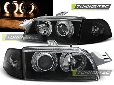 Передние фары Angel Eyes Black от Tuning-Tec для Fiat Punto I