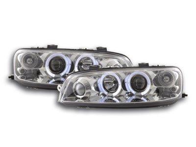 Передние фары с диодными ангельскими глазками хром для Fiat Punto II