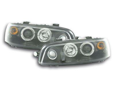 Передние фары с диодными ангельскими глазками чёрные  для Fiat Punto II