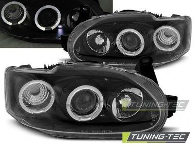 Передняя альтернативная оптика LED Angel Eyes Black от Tuning-Tec для Ford Escort VII