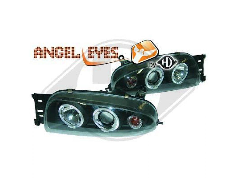 Фары передние Angel Eyes Black для Ford Fiesta IV
