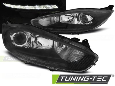 Фары передние True DRL Black от Tuning-Tec для Ford Fiesta Mk7 рестайл