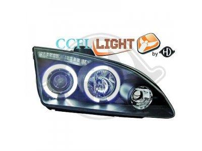 Передняя альтернативная оптика CCFL Angel Eyes Black для Ford Focus II