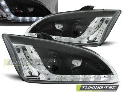 Фары передние с дневными ходовыми огнями чёрные от Tuning-Tec для Ford Focus II