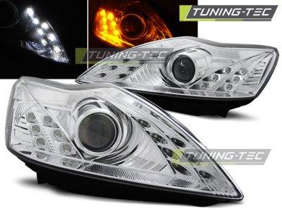 Фары передние с ходовыми огнями хром от Tuning-Tec для Ford Focus II рестайл