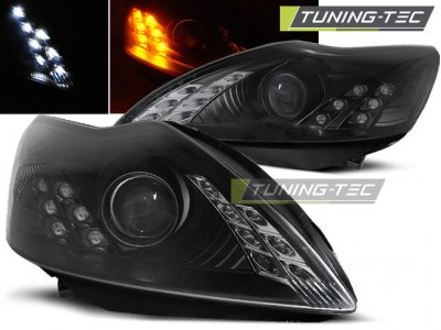 Фары передние с ходовыми огнями чёрные от Tuning-Tec для Ford Focus II рестайл