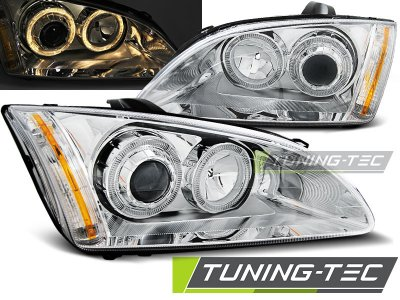 Передние фары с ангельскими глазками хром V2 от Tuning-Tec для Ford Focus II
