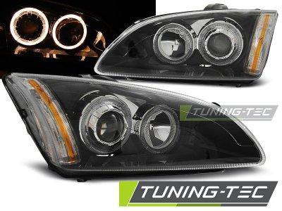Передние фары с ангельскими глазками чёрные V2 от Tuning-Tec для Ford Focus II