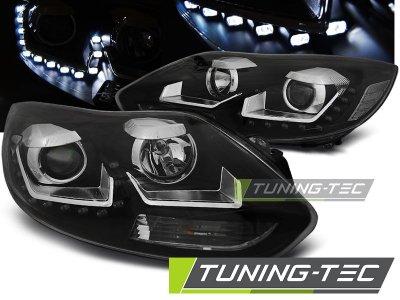 Фары передние Devil Eyes Black для Ford Focus III