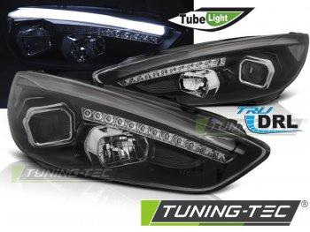 Передние фары с дневными ходовыми огнями чёрные для Ford Focus III рестайл
