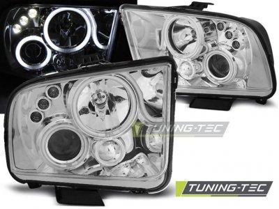 Фары передние Angel Eyes Chrome для Ford Mustang V