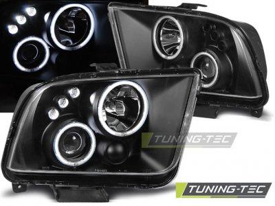 Фары передние Angel Eyes Black для Ford Mustang V