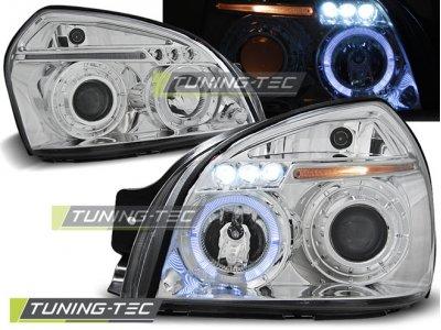 Передние фары с ангельскими глазками хром для Hyundai Tucson