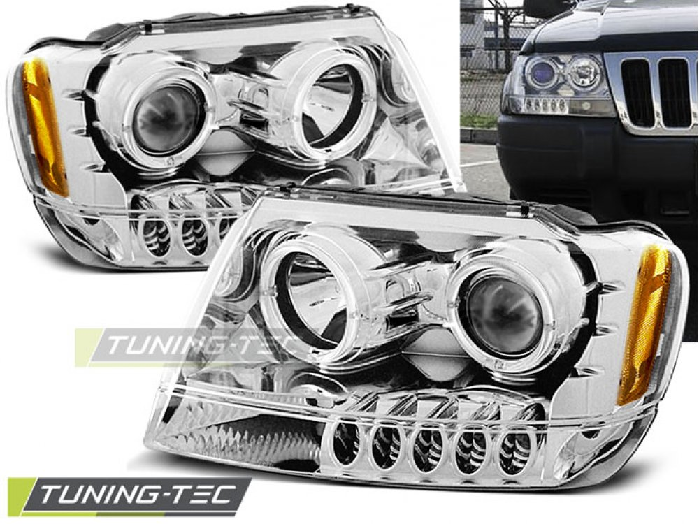 Фары передние LED Eyes Chrome для Jeep Grand Cherokee WJ