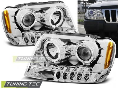 Передняя альтернативная оптика LED Eyes Chrome для Jeep Grand Cherokee WJ