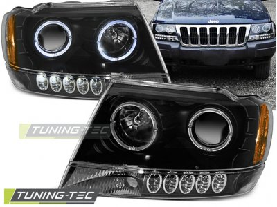 Передняя альтернативная оптика LED Eyes Black для Jeep Grand Cherokee WJ