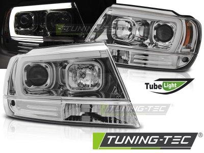 Передние тюнинговые фары Devil Eyes Chrome для Jeep Grand Cherokee WJ