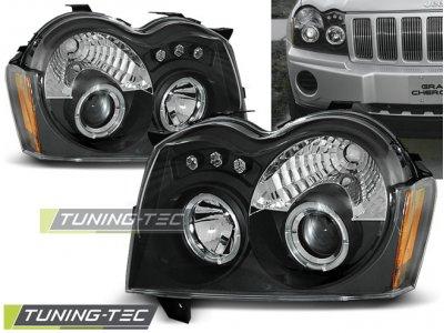 Фары передние Angel Eyes Black для Jeep Grand Cherokee WK
