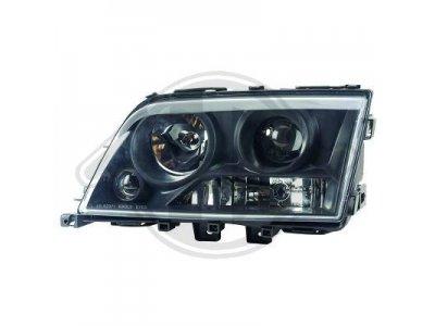 Передняя альтернативная оптика с линзой Black на Mercedes C класс W202