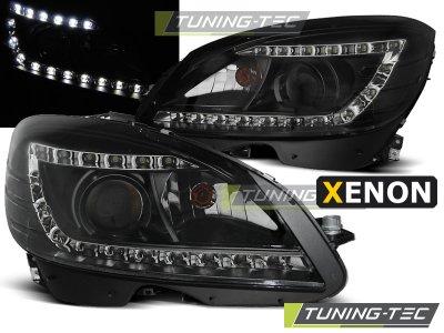Передняя альтернативная оптика Daylight Black на Mercedes C класс W204 XENON