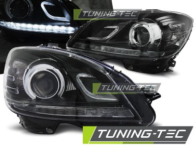 Передние тюнинговые фары Dlite Black в стиле рестайла на Mercedes C класс W204