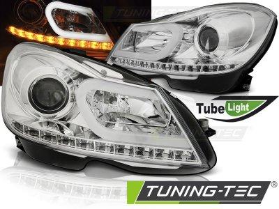 Передние фары Tube Light Chrome на Mercedes C класс W204 рестайл