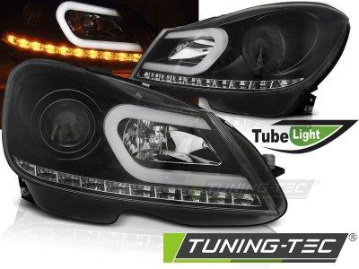 Передние фары Tube Light Black на Mercedes C класс W204 рестайл