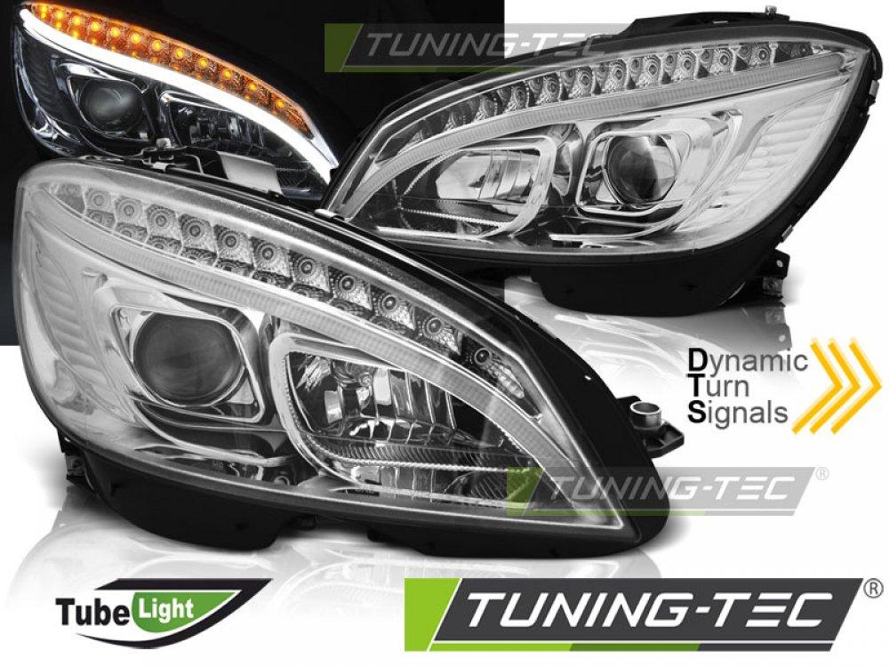 Фары передние TubeLight Dynamic Chrome в стиле W205 на Mercedes C класс W204