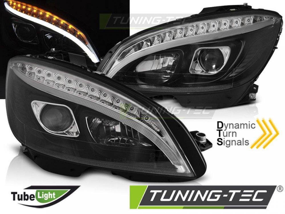 Фары передние TubeLight Dynamic Black в стиле W205 на Mercedes C класс W204