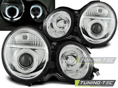 Фары передние Angel Eyes Chrome от Tuning-Tec на Mercedes E класс W210