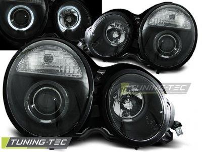 Фары передние Angel Eyes Black от Tuning-Tec на Mercedes E класс W210