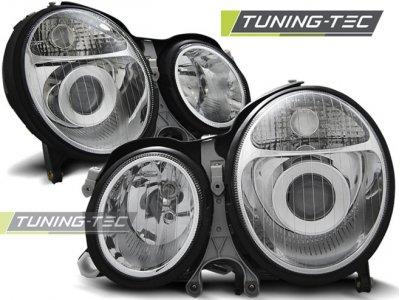 Передняя альтернативная оптика Chrome от Tuning-Tec на Mercedes E класс W210 рестайл