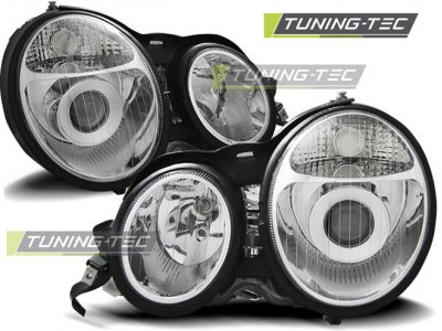 Передняя альтернативная оптика Chrome от Tuning-Tec на Mercedes E класс W210