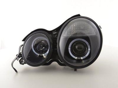 Передние фары с ангельскими глазками чёрные на Mercedes E класс W210