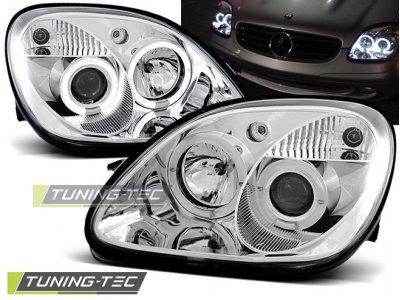 Фары передние Angel Eyes Chrome от Tuning-Tec на Mercedes SLK класс R170