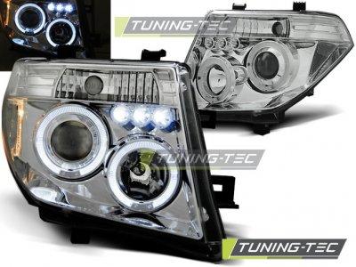 Фары передние Angel Eyes Chrome на Nissan Pathfinder III
