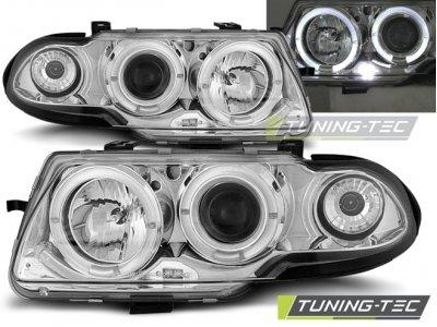 Фары передние LED Angel Eyes Chrome от Tuning-Tec на Opel Astra F рестайл