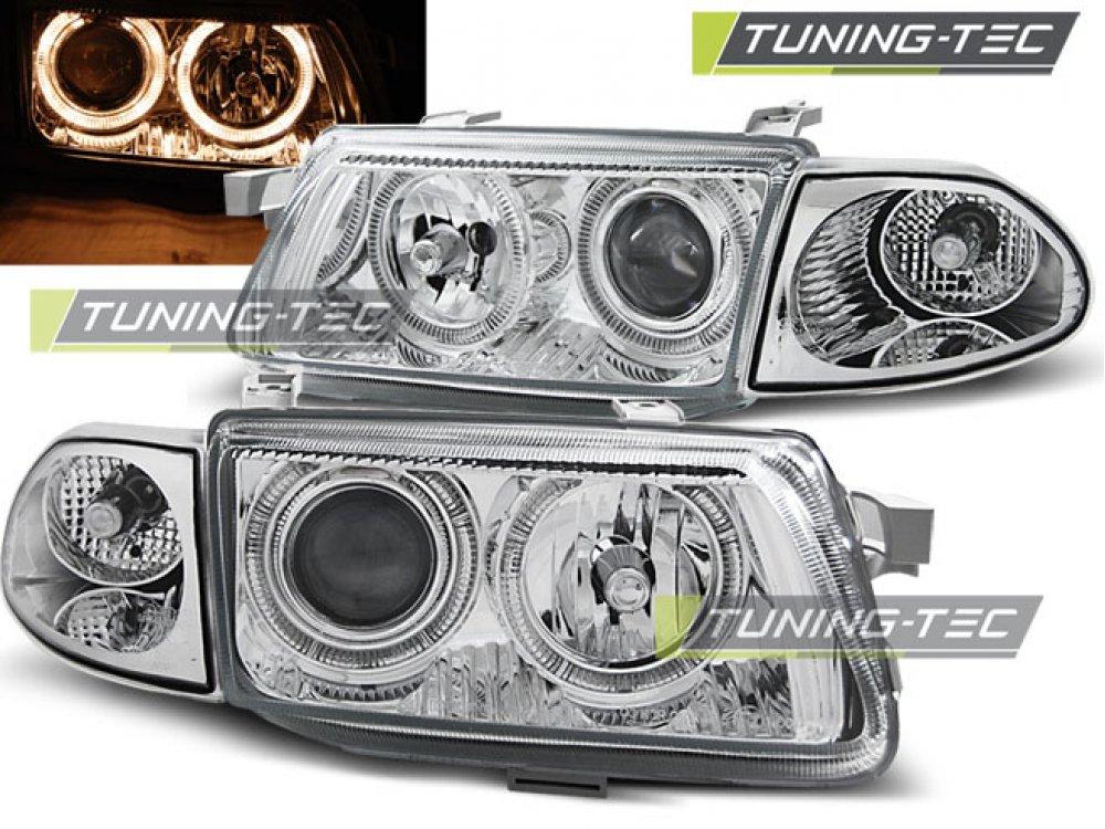 Фары передние Angel Eyes Chrome от Tuning-Tec на Opel Astra F рестайл