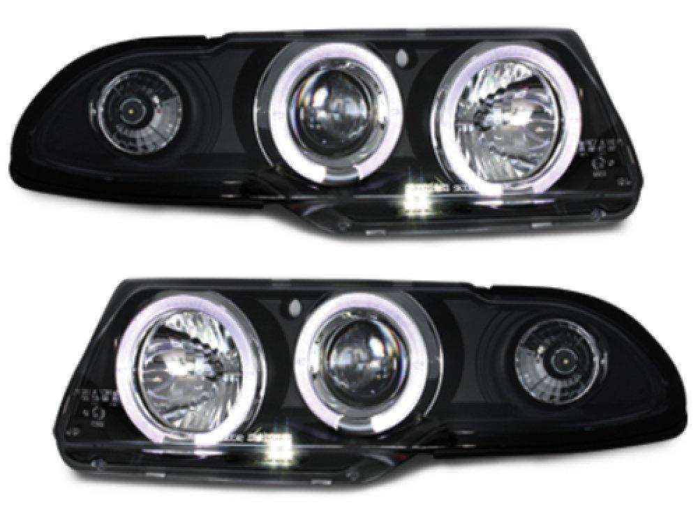 Фары передние LED Angel Eyes Black на Opel Astra F рестайл