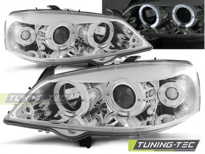 Фары передние LED Angel Eyes Chrome от Tuning-Tec на Opel Astra G